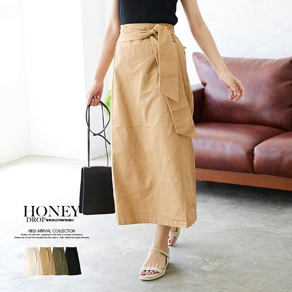 【2019春夏新作】ツイル共ベルトナロースカート