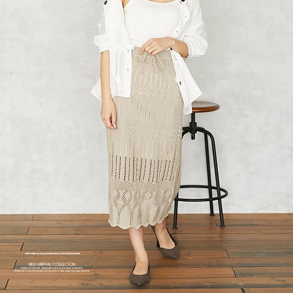 【2020春夏新作】綿アクリル 透かし編みスカート