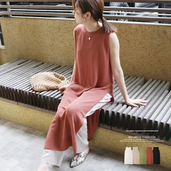 【2020春夏新作】7G麻タッチ天竺編みニットサイドスリットワンピース