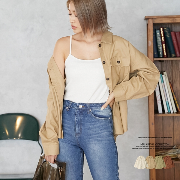 【2020春夏新作】リネンライクツイルオーバーサイズシャツ/トップス/2020新作/s20