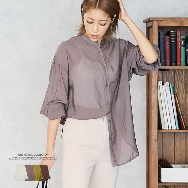 【2020秋冬新作】シースルーバンドカラーシャツ/トップス