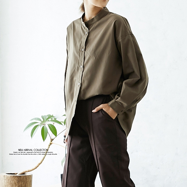 【2020秋冬新作】ブロード袖ボリュームバンドカラーシャツ/トップス