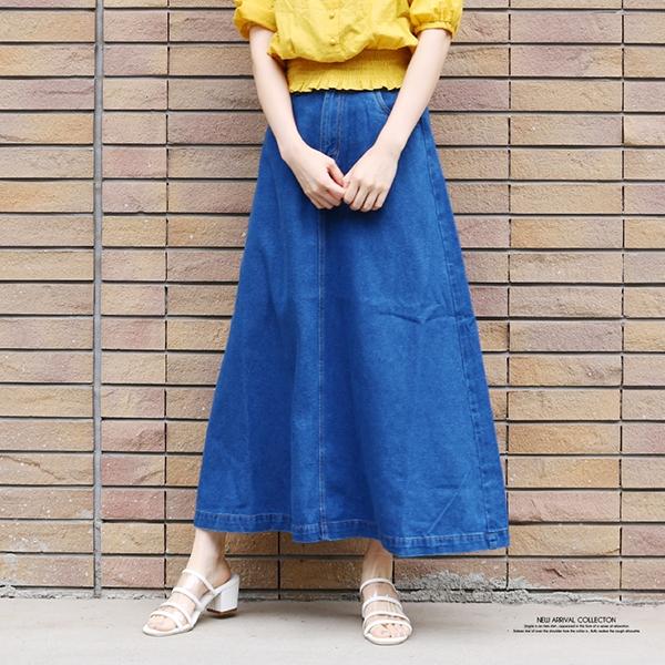 【2020春夏新作】デニムロングフレアスカート/55/2020新作