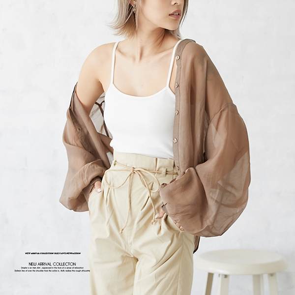 【2020春夏新作】ボリュームスリープシースルーバンドカラーシャツ/トップス