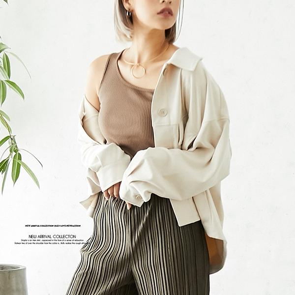 【2020秋冬新作】ポンチスウェードショートシャツジャケット/ライトアウター/2020新作