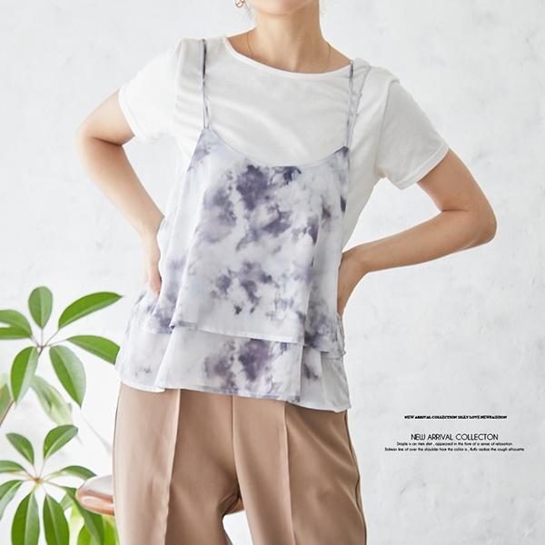 【2021春夏新作】Tシャツ付シフォンジョーゼットプリントキャミソール