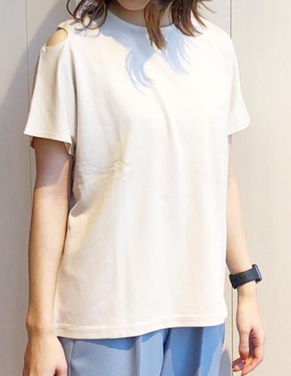 【予約5月中旬】【2021春夏新作】ショルダーカット デザインTシャツ