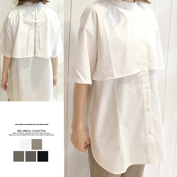 【2021春夏新作】ケープカラーオーバーサイズシャツ/y0707