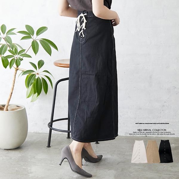 【2021春夏新作】バックレースアップ ツイルベイカーポケットスカート