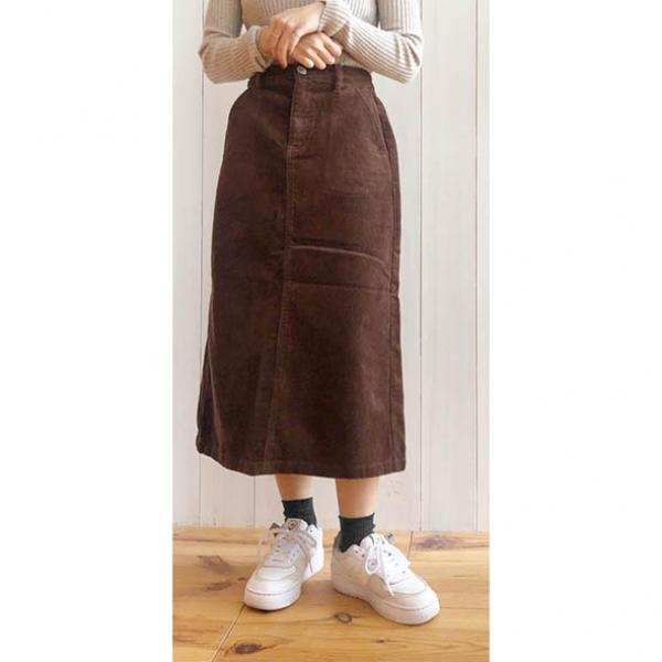 【2021秋冬先行受注】【予約8月上旬】【2021秋冬新作】コーデュロイセミタイトスカート
