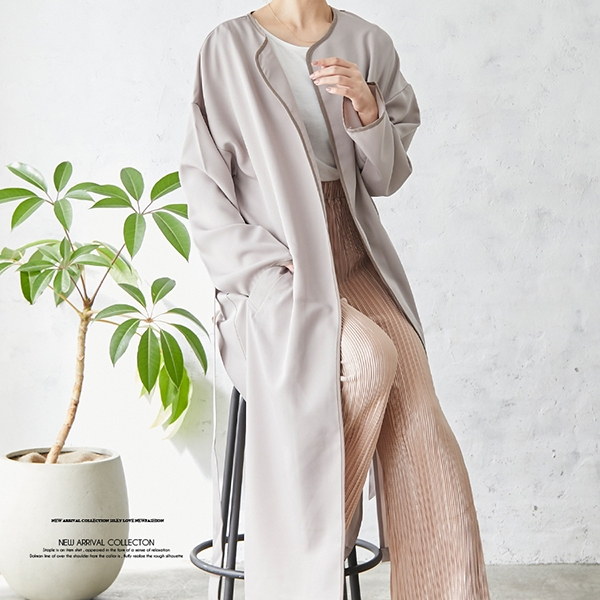 【2021春夏新作】配色パイピングノーカラーサイドスリットコート/スプリングアウター/春アウター