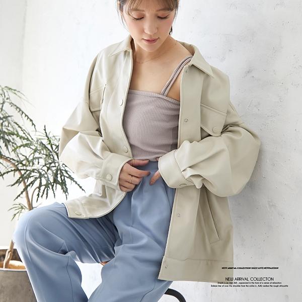 【2021春夏新作】エコレザーカバーオールジャケット