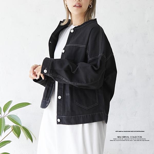 【2021春夏新作】ノーカラー BIGツイルGジャン
