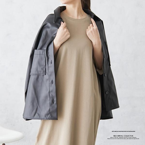 【2021春夏新作】エコレザーオーバーシャツジャケット/512ff