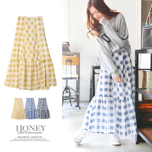 【2019春夏新作】ギンガムチェック裾ティアードスカート/ghy