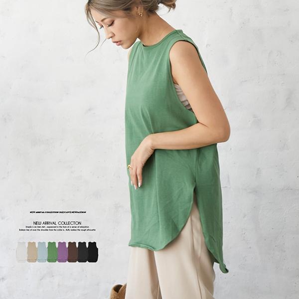 【2021春夏新作】ラウンドヘムノースリーブTシャツ