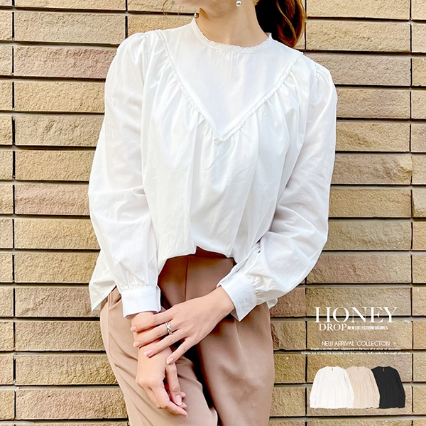 【予約2月下旬】【2021春夏新作】衿ふちレースブラウス