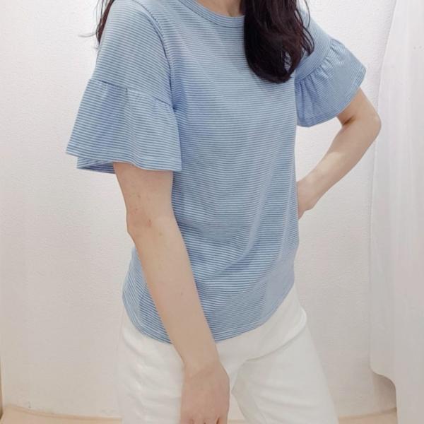 【予約6月上旬】【2021春夏新作】細ボ-ダ-袖フリルTシャツ