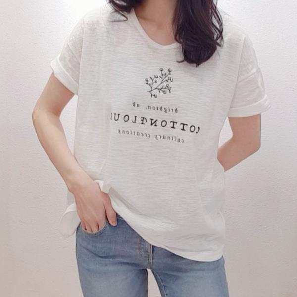 【予約6月上旬】【2021春夏新作】TシャツUネック(スラブ天竺)