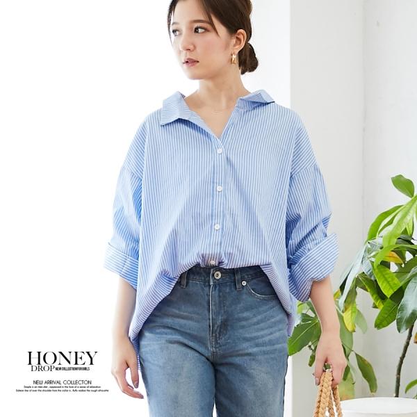 【SALE】【2020春夏新作】抜き衿デザインオーバーシャツ/ギンガムチェック/ボリュームトップス