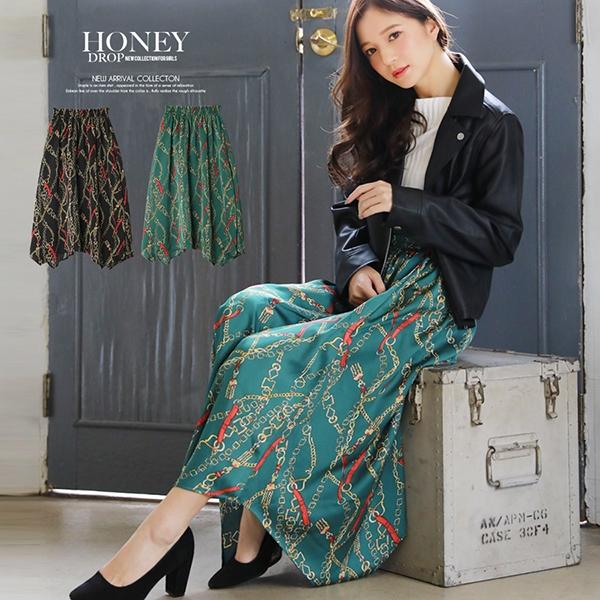 【SALE】【春夏新作】スカーフ柄イレヘムスカート