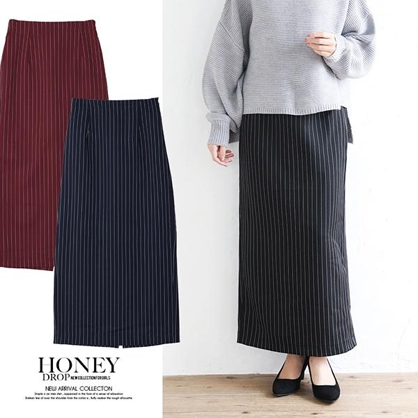 【2019秋冬新作】ストライプタイトスカート