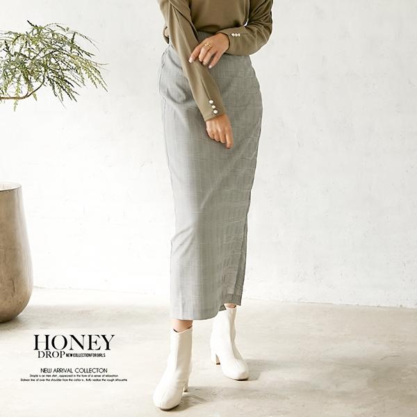 【セール】グレンチェックタイトスカート