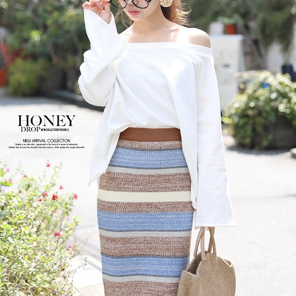 【セール】【2020春夏新作】ボーダーリブニットタイトミディスカート