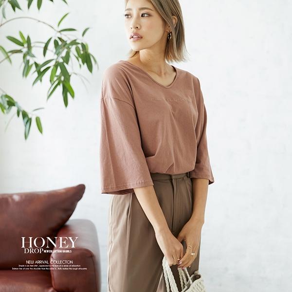 【SALE】【2020春夏新作】ロゴ刺繍入VネックオーバーTシャツ/トップス/韓国製