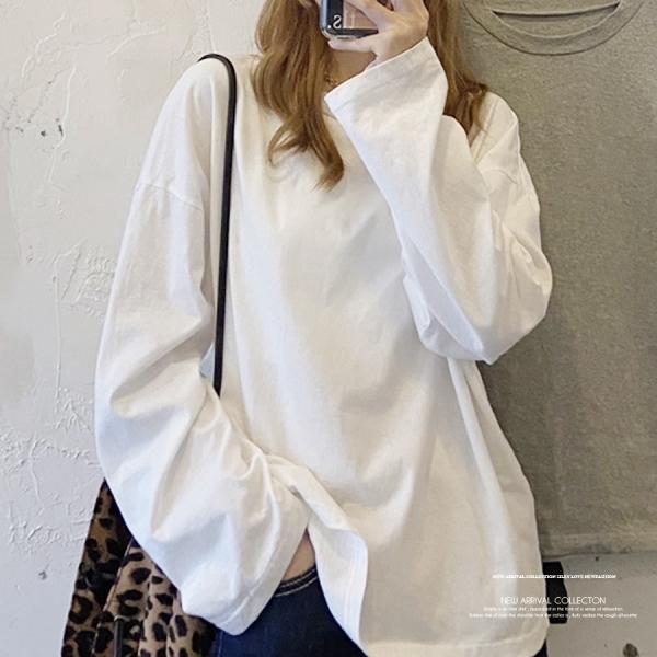 【2021秋冬新作】ビックシルエットシンプルカットソー/ロンT/Tシャツ