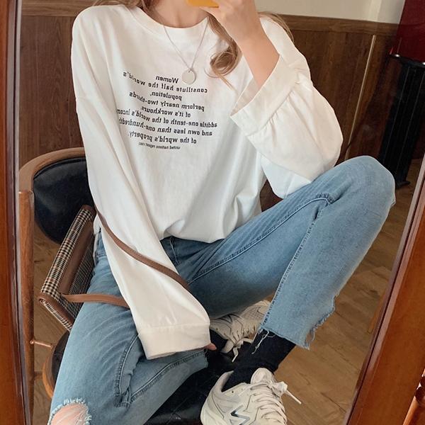 【2020秋冬新作】オーバーシルエットロゴロンT/トップス/Tシャツ