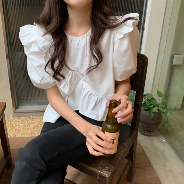 【2021春夏新作】フリルシャツ/y0624