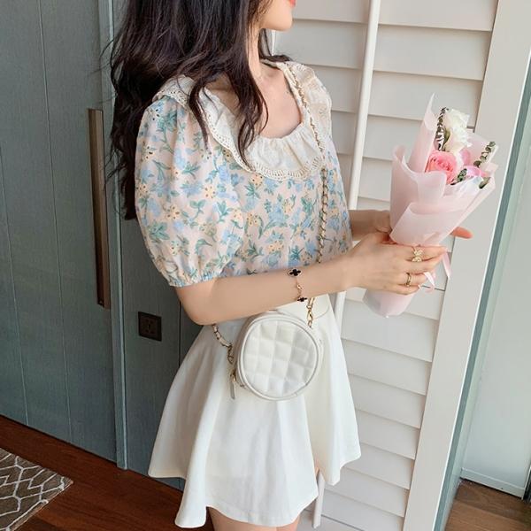 【2021春夏新作】花柄フリル付きブラウス/y0629