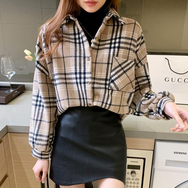 【2021秋冬新作】チェックシャツ/y0908