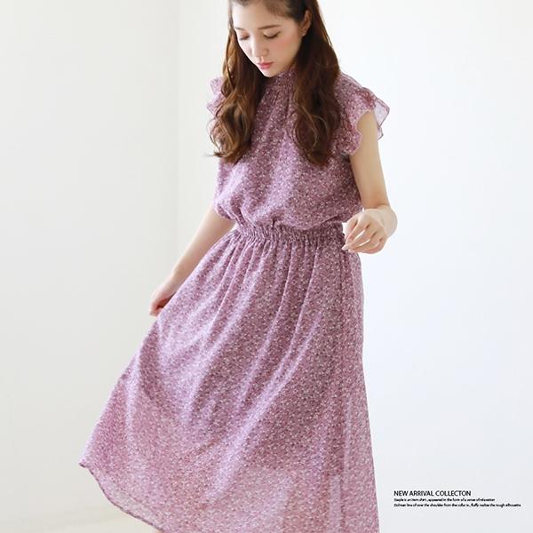 【セール】衿シャーリングフリル袖ワンピース-9Q/s20