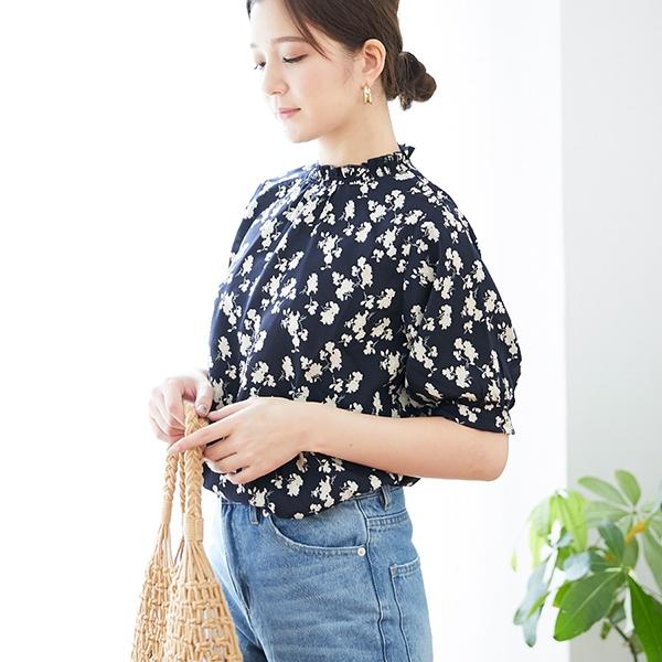 【2019春夏新作】シャーリング衿花柄ブラウス-9Q