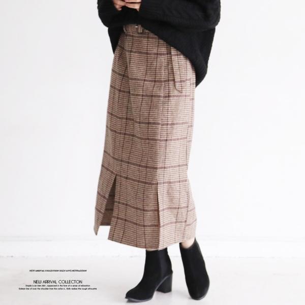 【セール】【2020秋冬新作】チェック柄ベルト付きナロースカート/2020新作